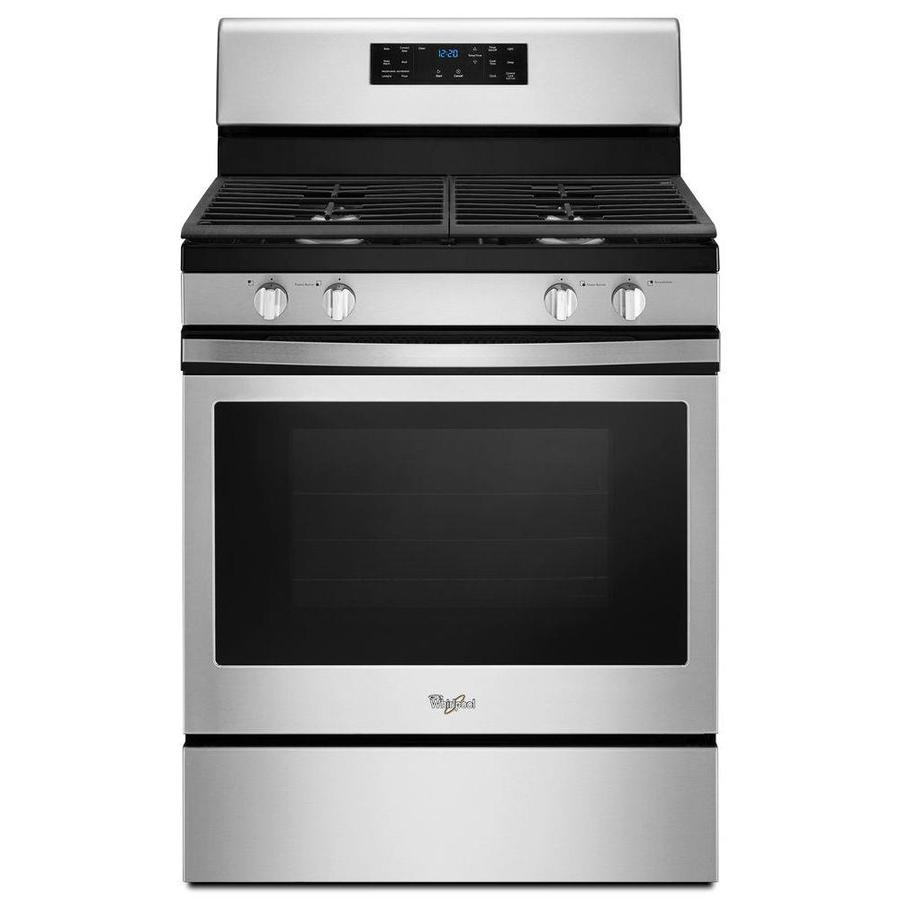 Whirlpool 4-Burner Freestanding 5-cu ft Self-cleaning Convection Gas Range (Stainless steel) (Common: 30-in; Actual: 29.875-in)