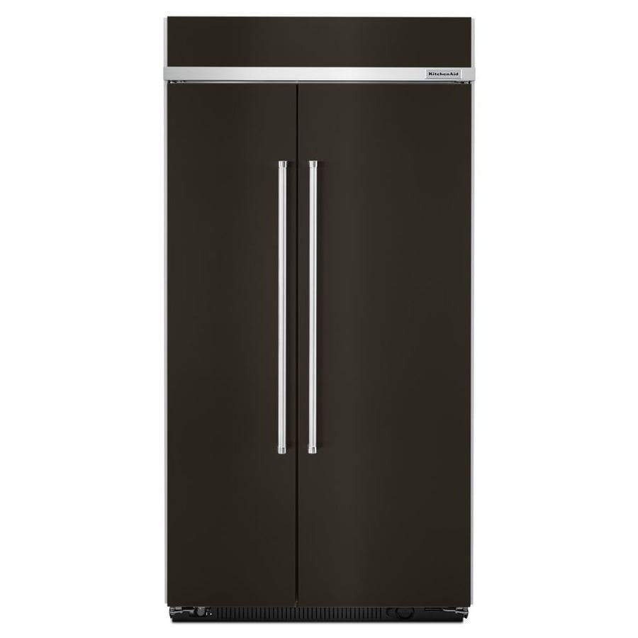 KitchenAid 25.5-cu ft Built-in Side-By-Side Refrigerator Single (Black Stainless)
