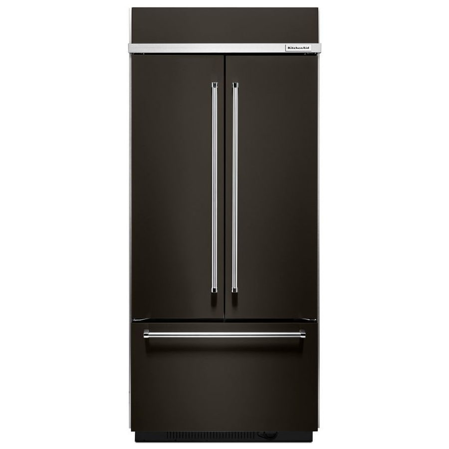 KitchenAid 20.8-cu ft Built-In French Door Refrigerator with Ice Maker (Black Stainless Steel)