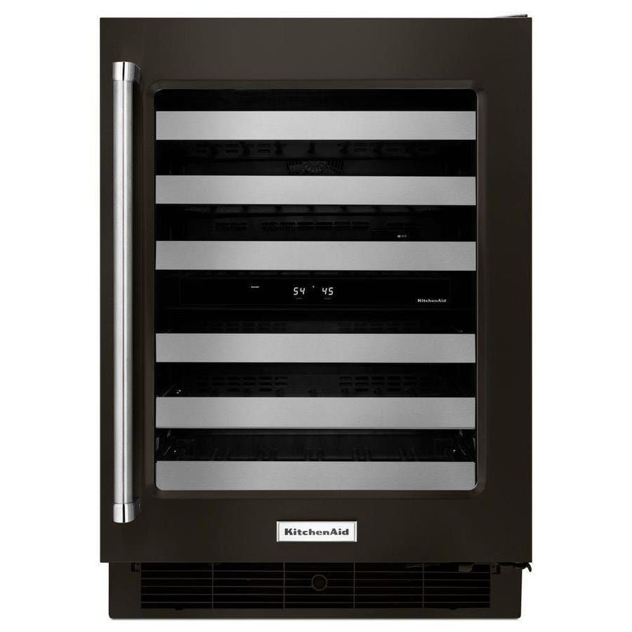 KitchenAid 46-Bottle Black Stainless Dual Zone Wine Chiller