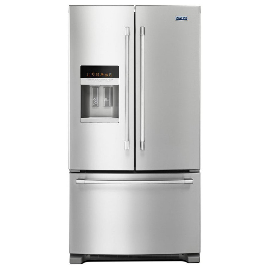 Shop maytag 24 7 cu ft french door refrigerator with ice for 6 ft wide french doors