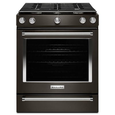 5 Burners 8 Cu Ft Self Cleaning Convection Slide In Gas Range Fingerprint Resistant Black Stainless Common 30 Actual 29 88