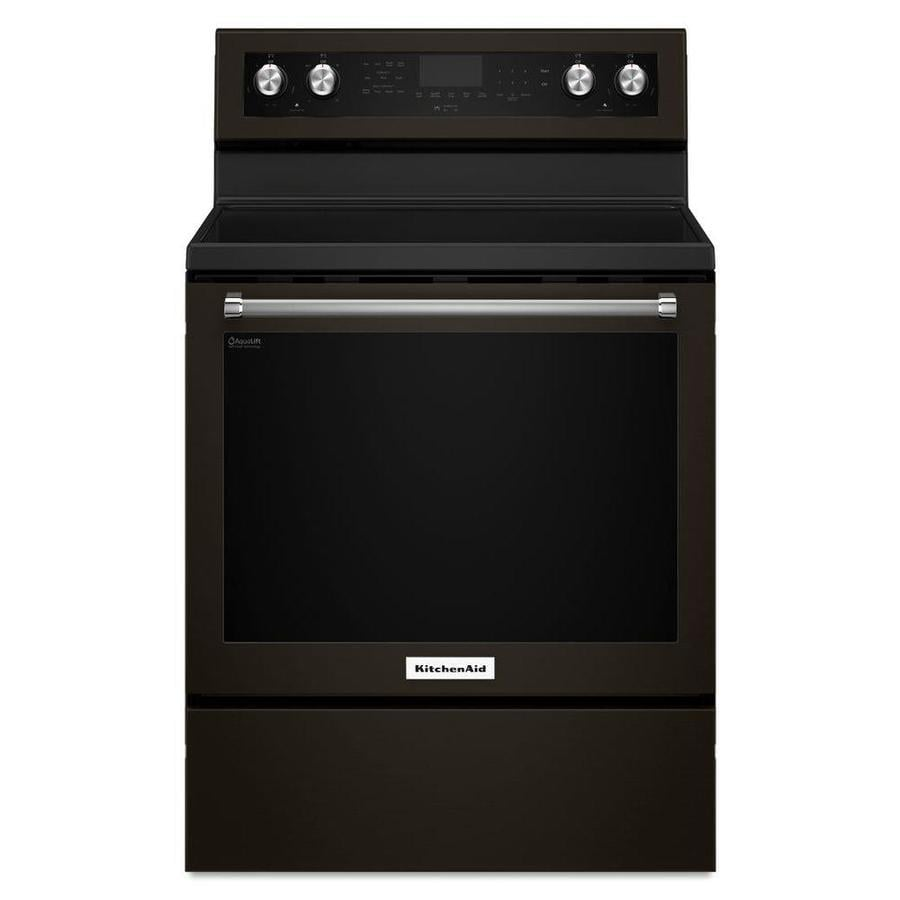KitchenAid Smooth Surface Freestanding 5-Element 6.4-cu ft Self-Cleaning Convection Electric Range (Black Stainless Steel) (Common: 30-in; Actual: 29.875-in)