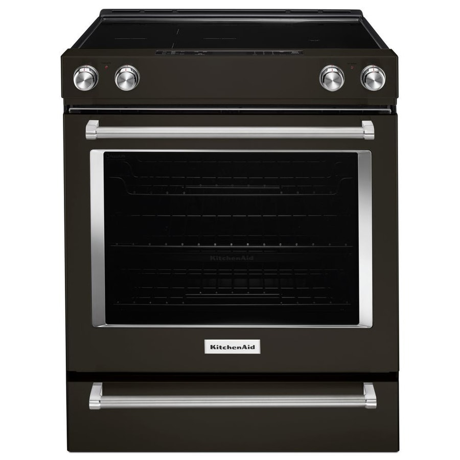 KitchenAid Smooth Surface 5-Element Self-Cleaning Slide-in Convection Electric Range (Black Stainless Steel) (Common: 30-in; Actual 29.88-in)