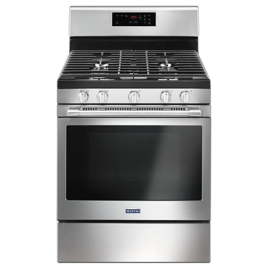 Maytag 5-Burner Freestanding 5-cu ft Self-cleaning Gas Range (Fingerprint-Resistant Stainless Steel) (Common: 30-in; Actual: 29.875-in)
