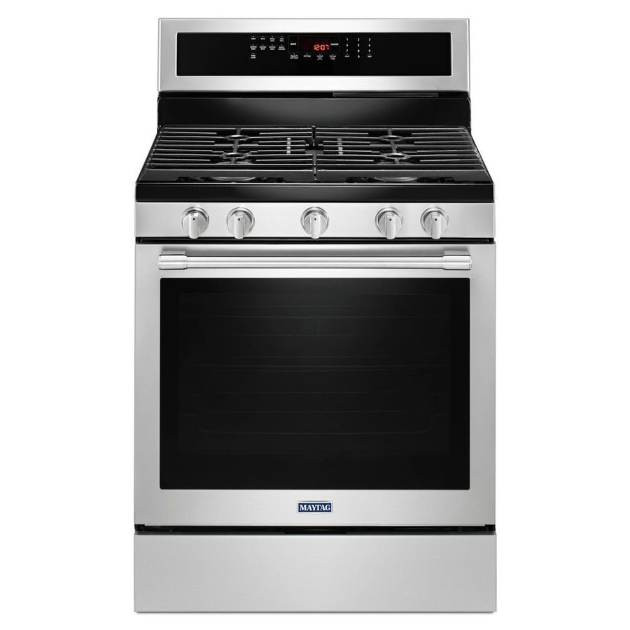 Maytag 5-Burner Freestanding 5.8-cu ft Self-Cleaning Convection Gas Range (Fingerprint Resistant Stainless Steel) (Common: 30-in; Actual: 29.875-in)