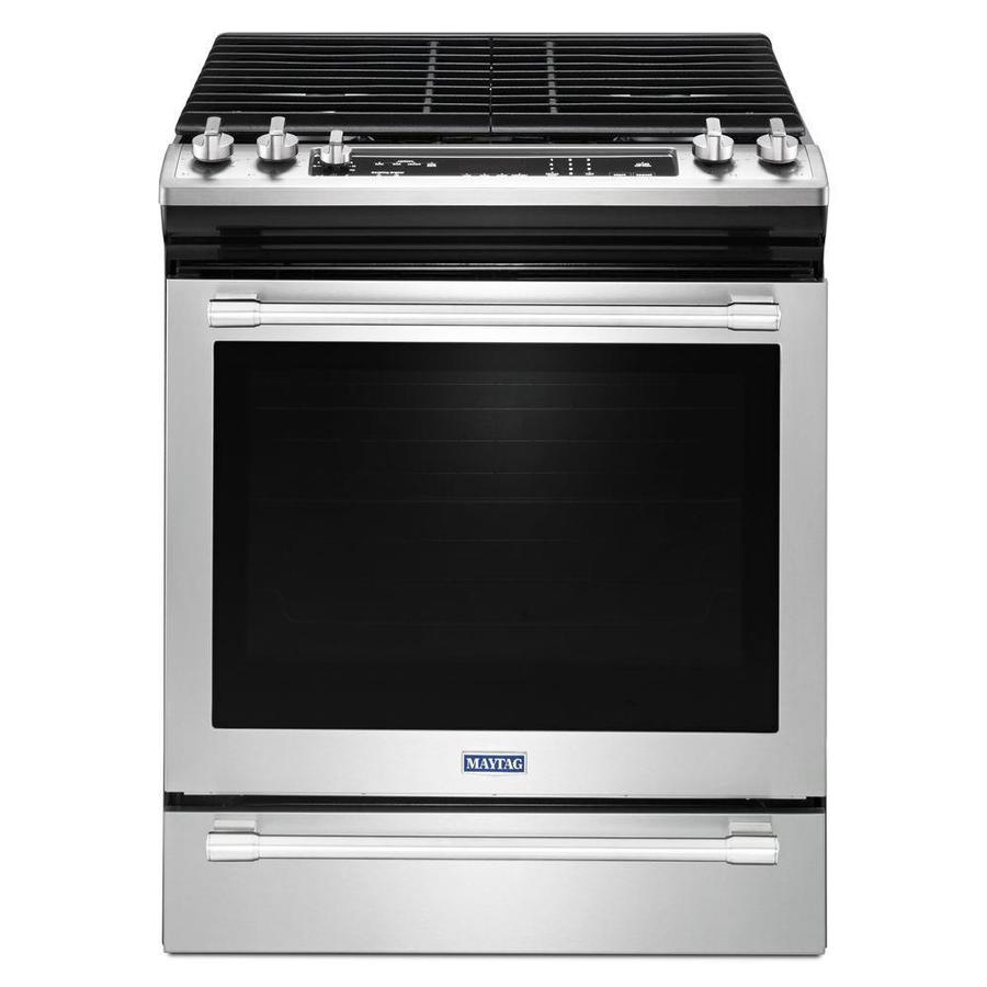 Maytag 5-Burner 5.8-cu ft Slide-in Convection Gas Range (Fingerprint Resistant Stainless Steel) (Common: 30-in; Actual 29.875-in)