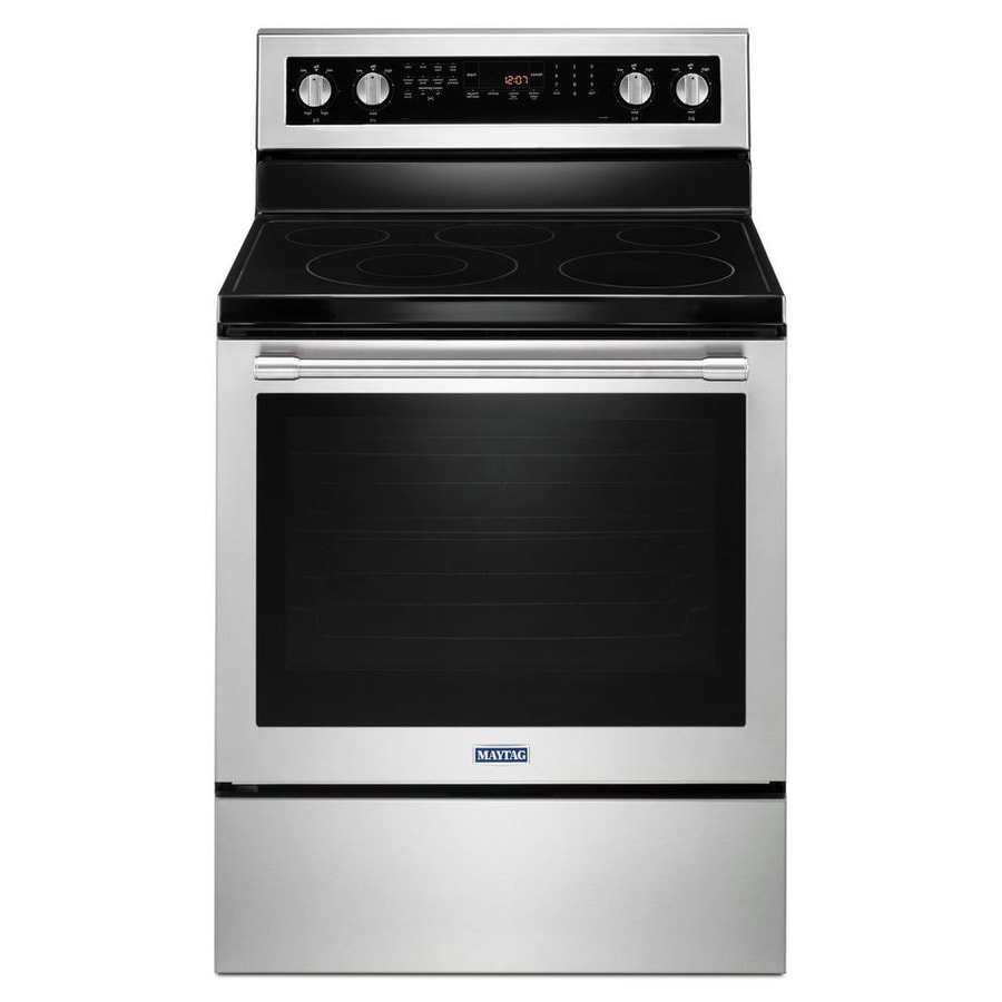 Maytag Smooth Surface Freestanding 5-Element 6.4-cu ft Self-Cleaning Convection Electric Range (Fingerprint Resistant Stainless Steel) (Common: 30-in; Actual: 29.875-in)