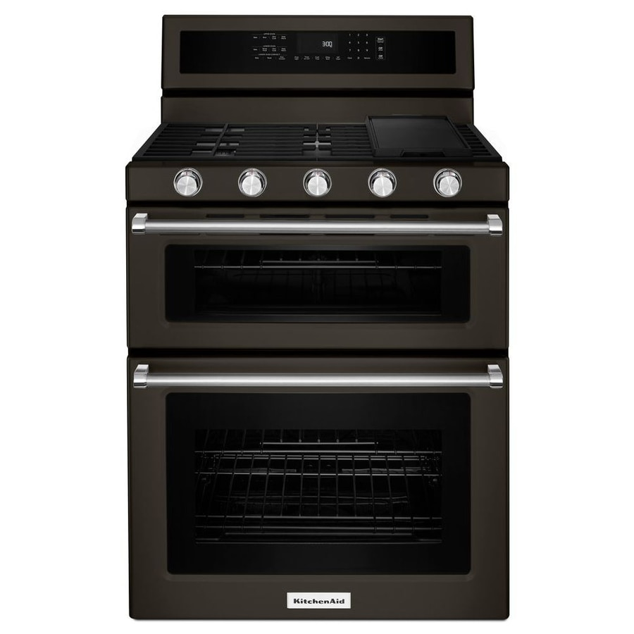 KitchenAid 30-in 5-Burner 3.9-cu ft / 2.1-cu ft Self-Cleaning Double Oven Convection Gas Range (Black Stainless Steel)