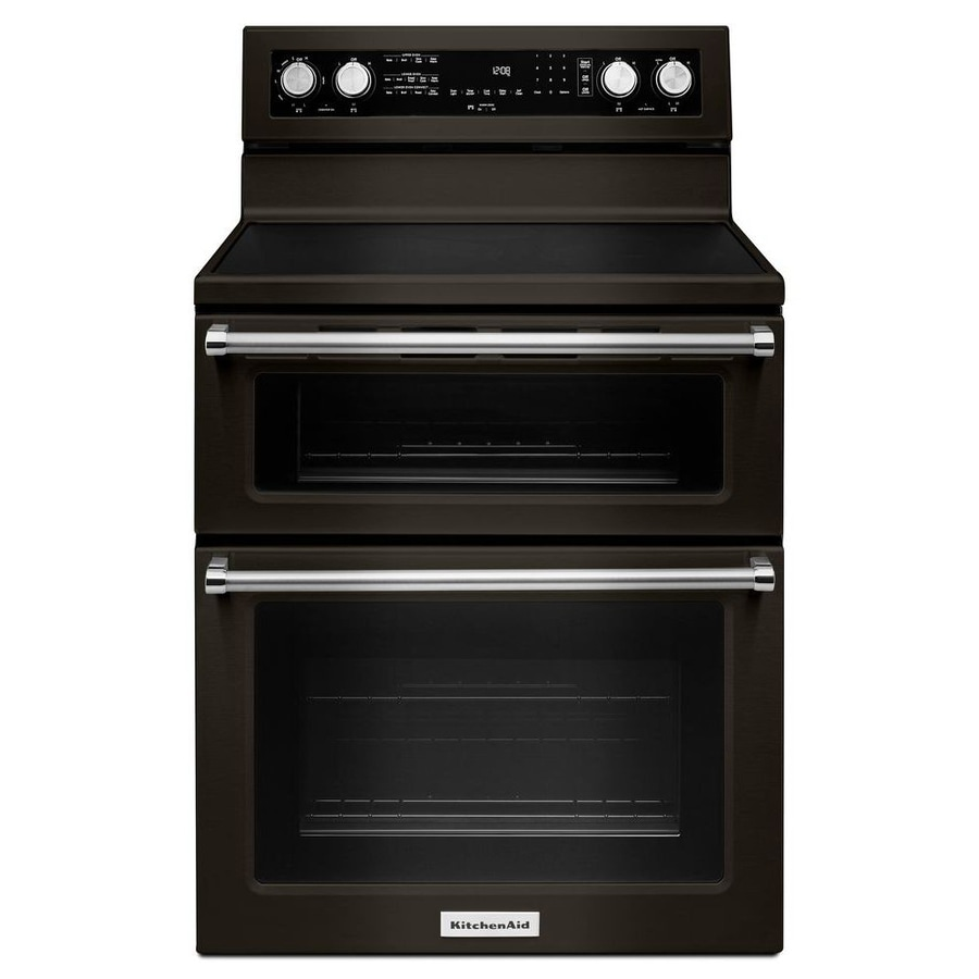 Kitchenaid S Black Stainless Steel Wowza: Shop KitchenAid 30-in Smooth Surface 5-Element 4.2-cu Ft / 2.5-cu Ft Double Oven Single-Fan