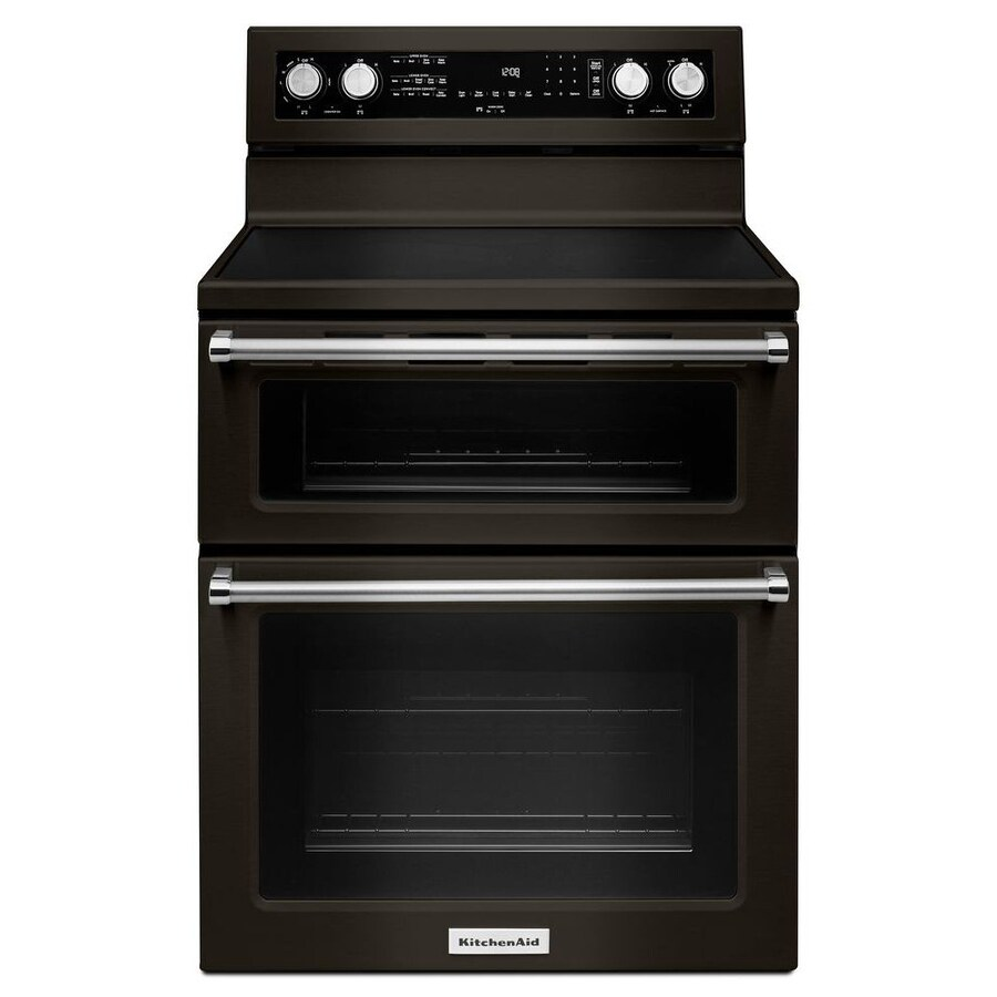 KitchenAid 30-in Smooth Surface 5-Element 4.2-cu ft / 2.5-cu ft Double Oven Single-Fan Electric Range (Black Stainless Steel)