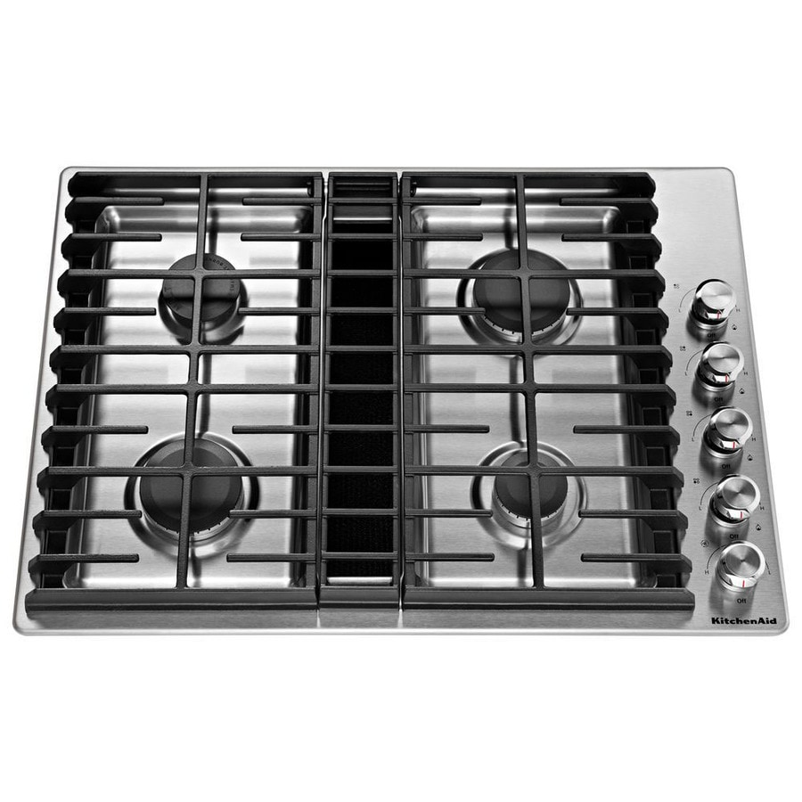 KitchenAid Gas Cooktop With Downdraft Exhaust Stainless Steel Common 30 In