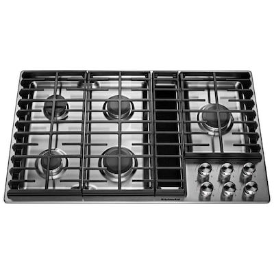 36 In 5 Burner Stainless Steel Gas Cooktop With Downdraft Exhaust Common Actual