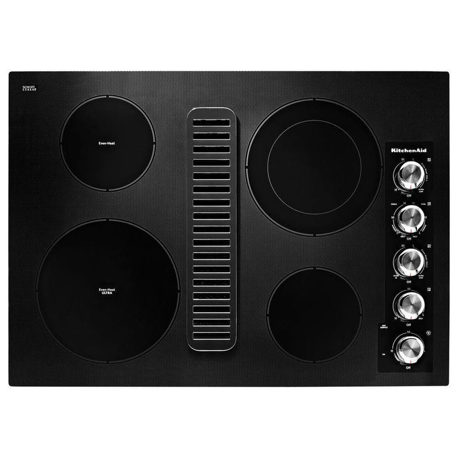 KitchenAid Smooth Surface Electric Cooktop with Downdraft Exhaust (Black) (Common: 30-in; Actual 30.875-in)