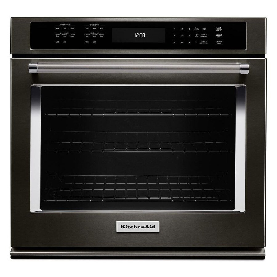 KitchenAid Convection Self-Cleaning Electric Wall Oven (Black Stainless Steel) (Common: 27-in; Actual 27-in)