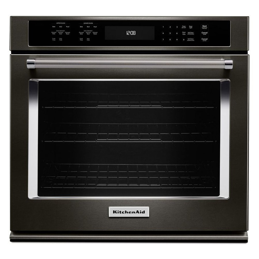 KitchenAid Self-cleaning Convection Single Electric Wall Oven (Black Stainless Steel) (Common: 27-in; Actual 27-in)