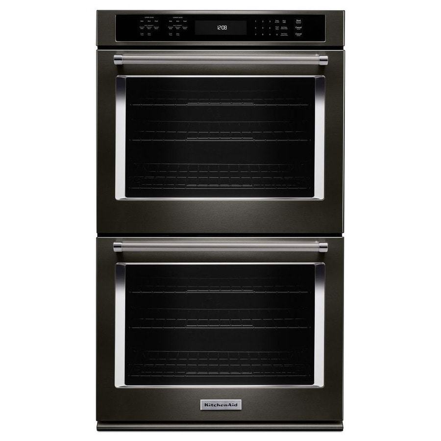 KitchenAid Convection Self-Cleaning Double Electric Wall Oven (Black Stainless Steel) (Common: 27-in; Actual: 27-in)