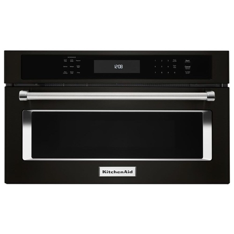 KitchenAid 1.4-cu ft Built-In Convection Microwave with Sensor Cooking Controls (Black Stainless Steel)