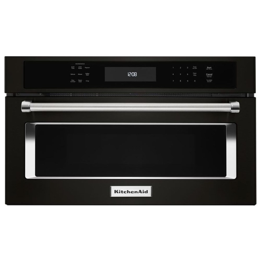 Shop kitchenaid 1 4 cu ft built in convection microwave with sensor cooking controls black - Kitchenaid microwave ...