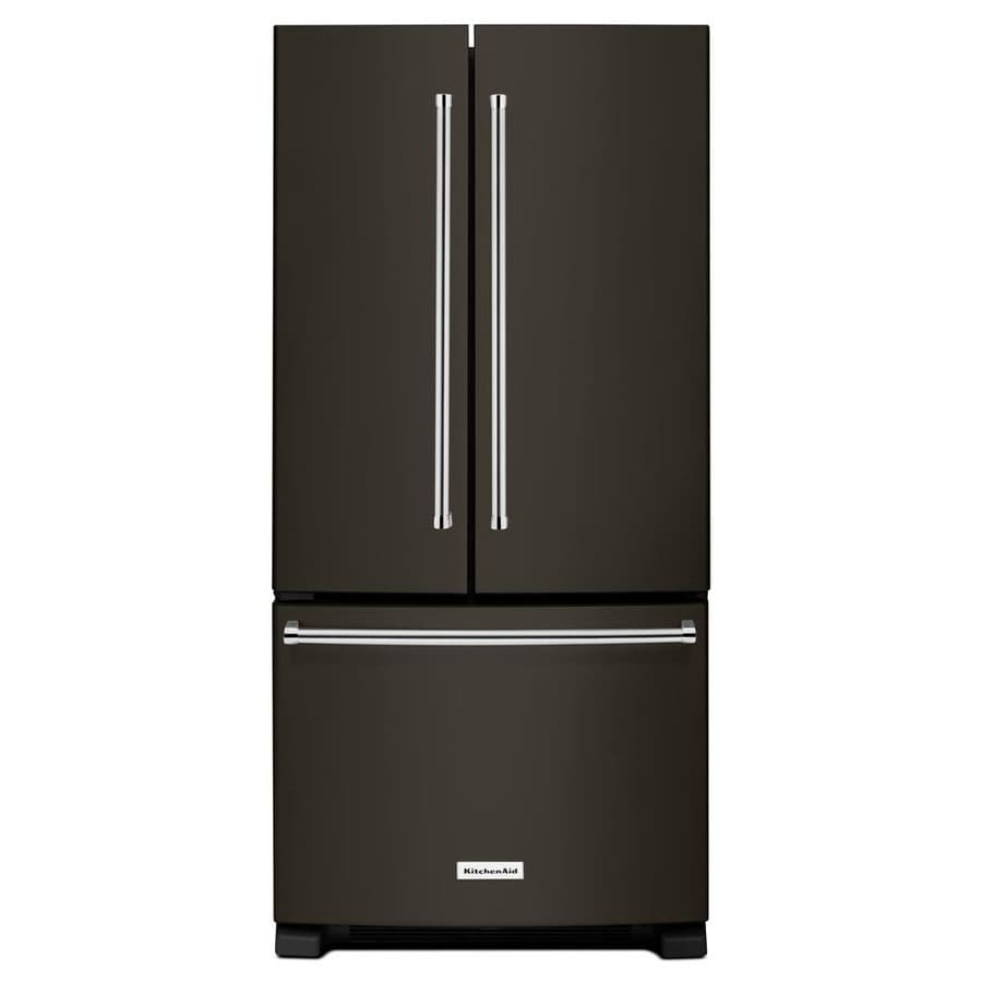 KitchenAid 22.1-cu ft French Door Refrigerator with with Single Ice Maker (Black Stainless) ENERGY STAR