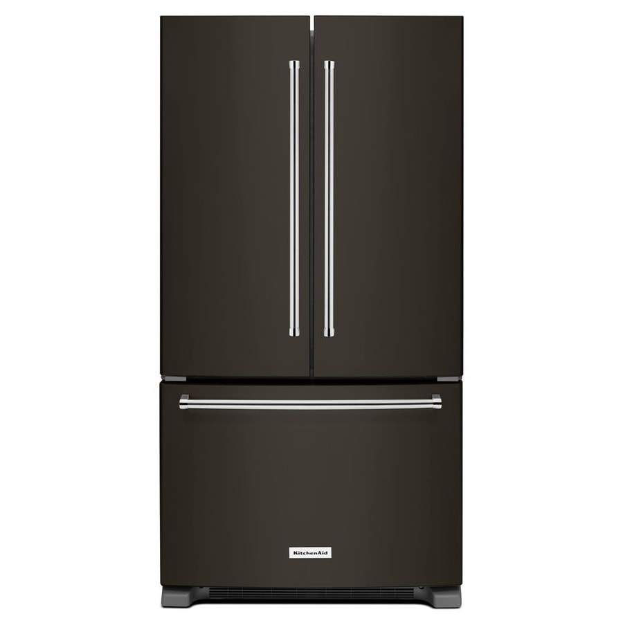 KitchenAid 25.2-cu ft 3-Door French Door Refrigerator Single Ice Maker (Black Stainless) ENERGY STAR