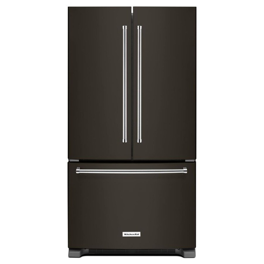 KitchenAid 20-cu ft 3-Door Counter-Depth French Door Refrigerator Single Ice Maker (Black Stainless) ENERGY STAR