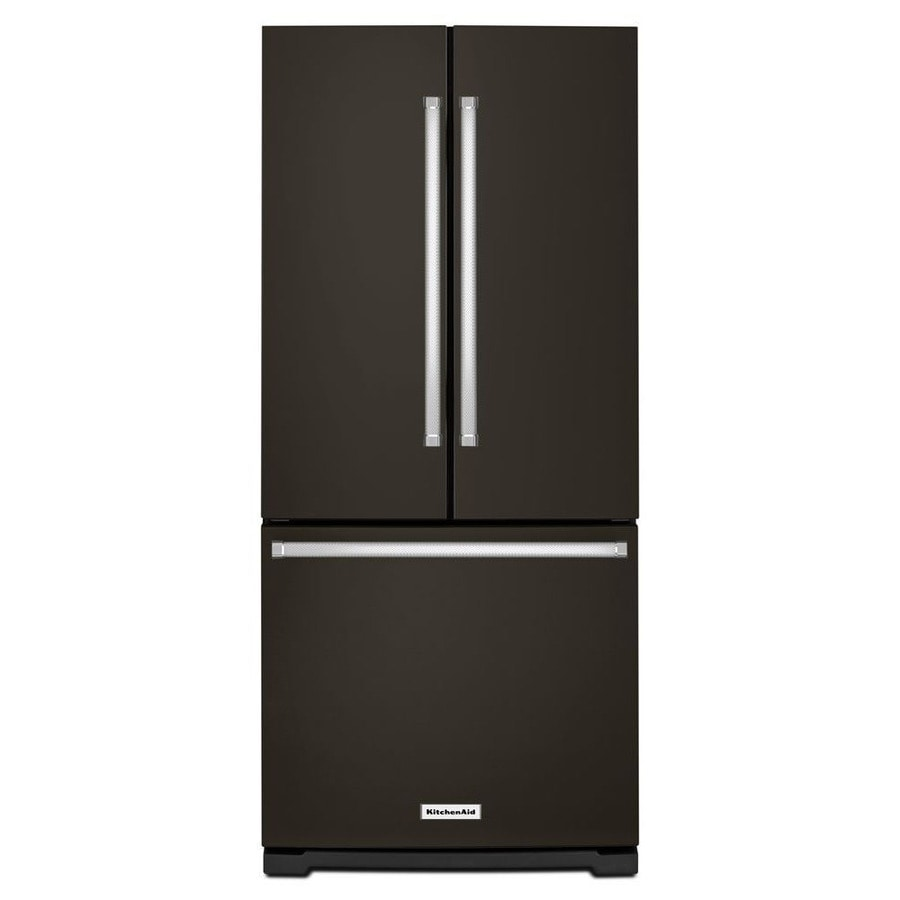 KitchenAid 19.7-cu ft French Door Refrigerator with Single Ice Maker (Black Stainless Steel)
