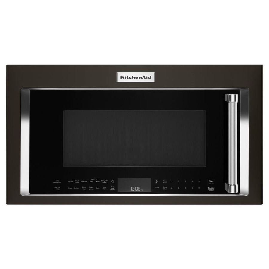 KitchenAid 1.9-cu ft Over-the-Range Convection Microwave with Sensor Cooking Controls (Black Stainless) (Common: 30-in; Actual: 30-in)