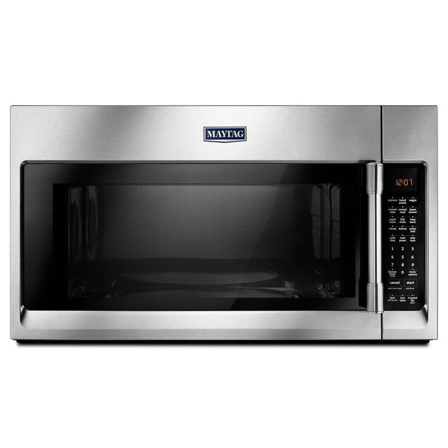 Maytag 1.9-cu ft Over-the-Range Convection Microwave with Sensor Cooking Controls (Fingerprint-Resistant Stainless Steel) (Common: 30-in; Actual: 29.88-in)