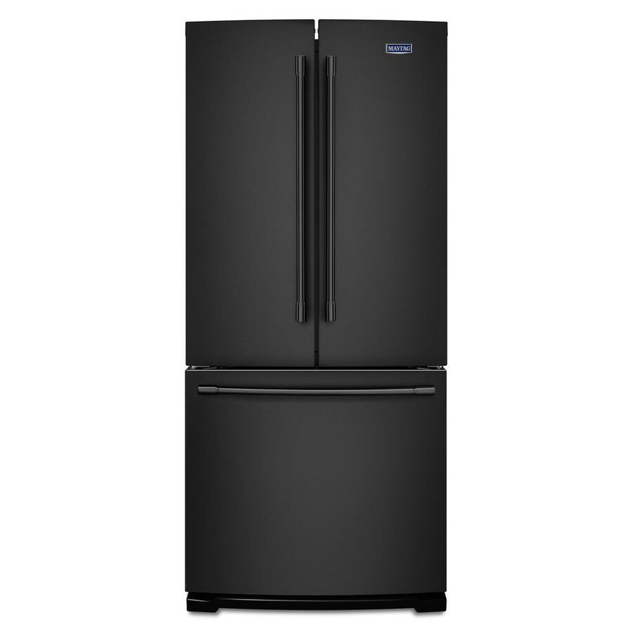 Maytag 19.7-cu ft 3 French Door Refrigerator Single Ice Maker (Black)