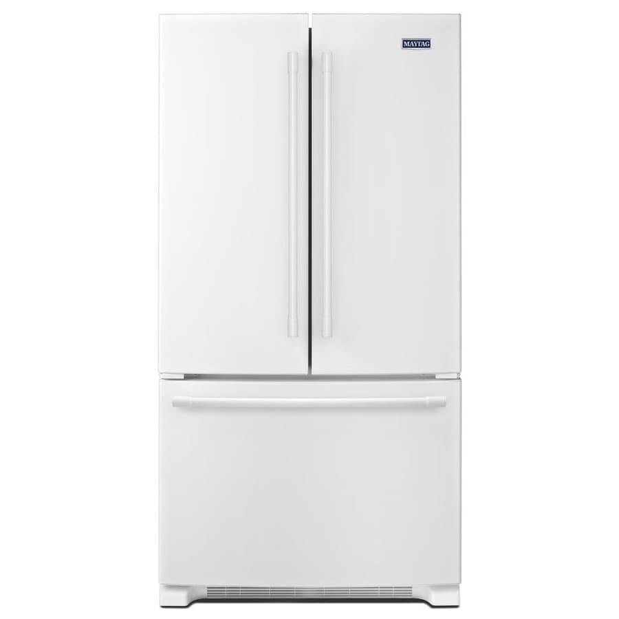 Maytag 25.2-cu ft 3-Door French Door Refrigerator Single Ice Maker (White) ENERGY STAR