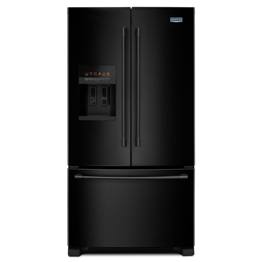Maytag 24.7-cu ft 3 French Door Refrigerator Single Ice Maker (Black) ENERGY STAR