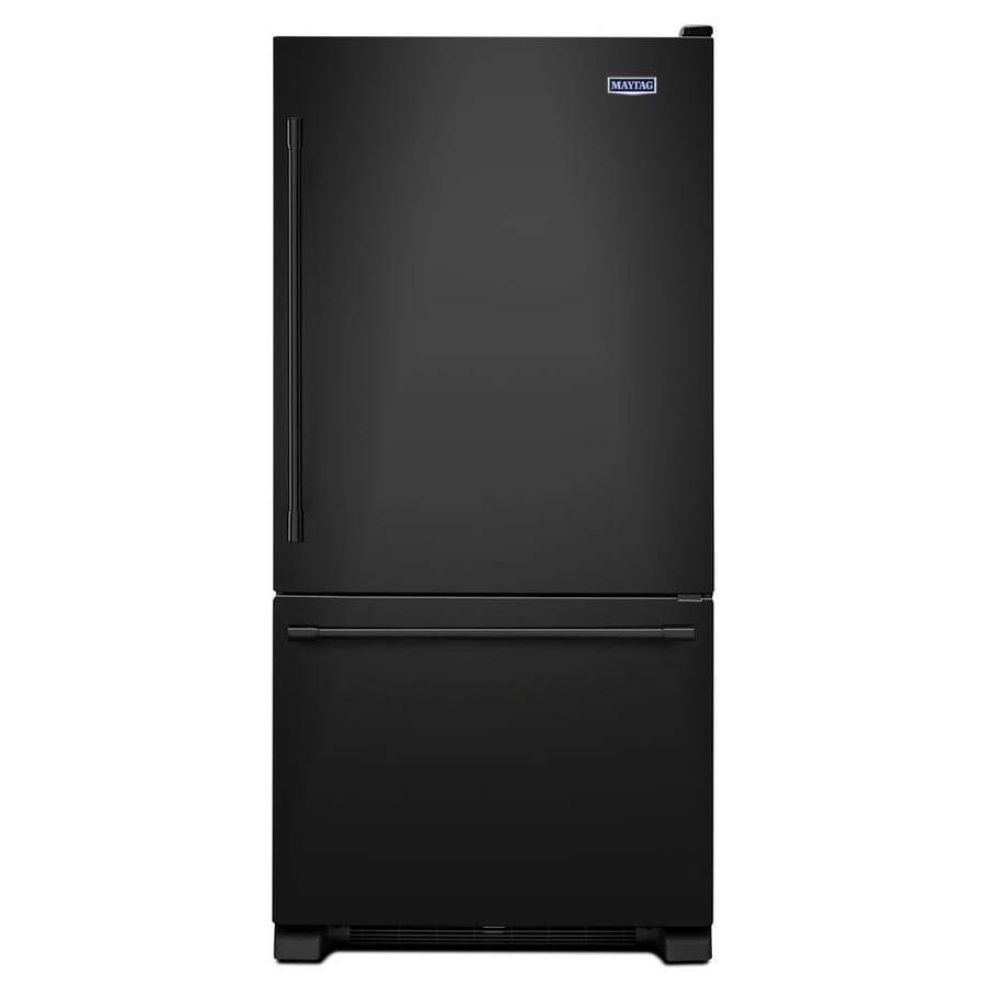 Maytag 18.7-cu ft Bottom-Freezer Refrigerator with Single Ice Maker (Black) ENERGY STAR