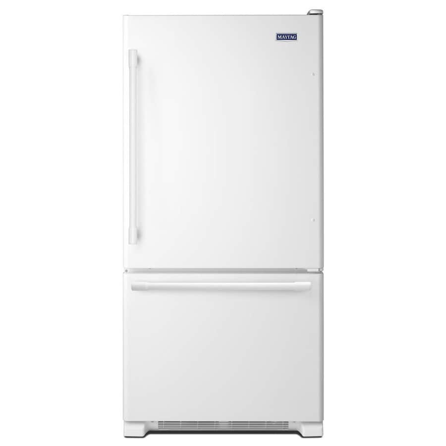 Maytag 22.1-cu ft Bottom-Freezer Refrigerator with Ice Maker (White) ENERGY STAR