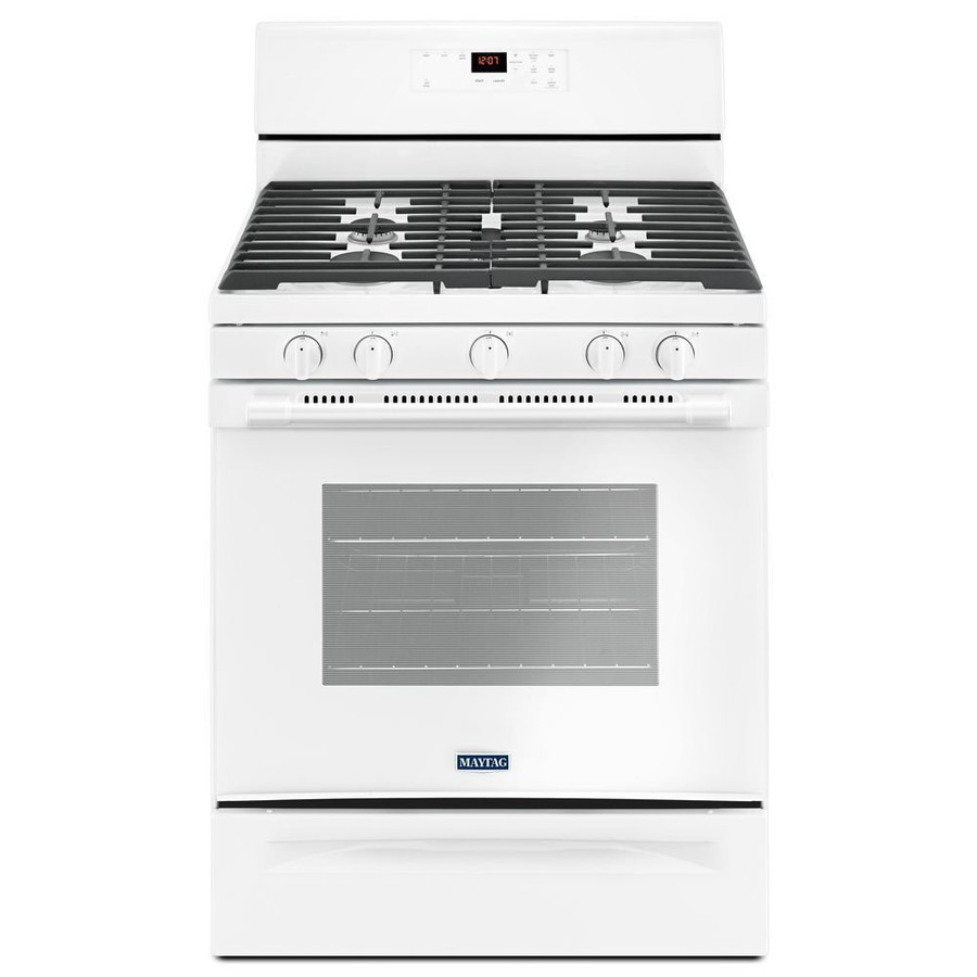 Maytag 5-Burner Freestanding 5-cu ft Self-cleaning Gas Range (White) (Common: 30-in; Actual: 29.875-in)