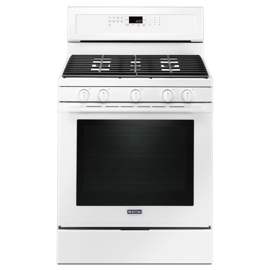 Maytag 5-Burner Freestanding 5.8-cu ft Self-cleaning Convection Gas Range (White) (Common: 30-in; Actual: 29.875-in)
