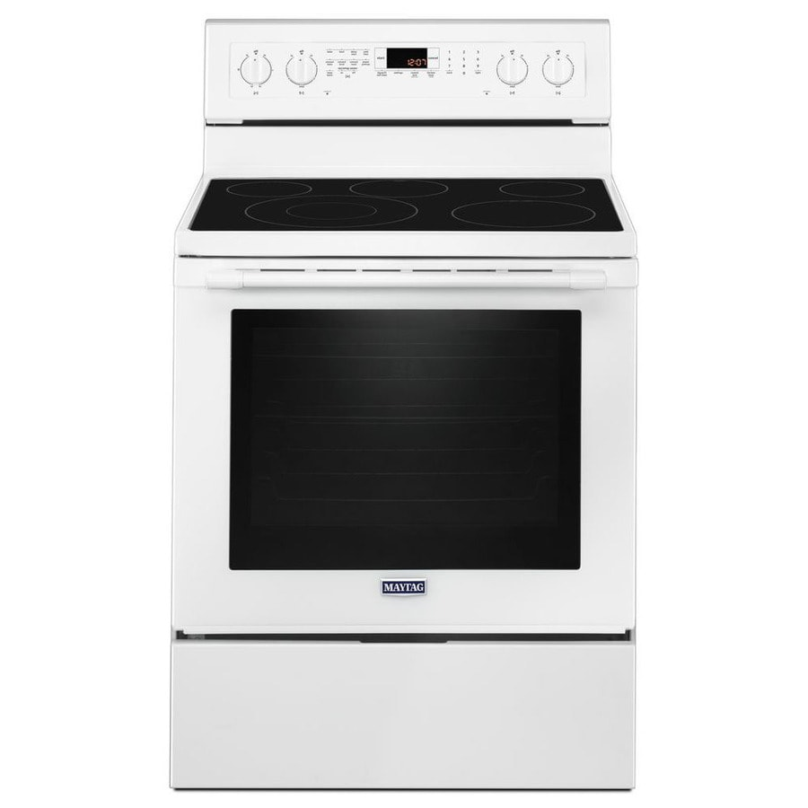 Maytag Smooth Surface Freestanding 5-Element 6.4-cu ft Self-Cleaning Convection Electric Range (White) (Common: 30-in; Actual: 29.875-in)