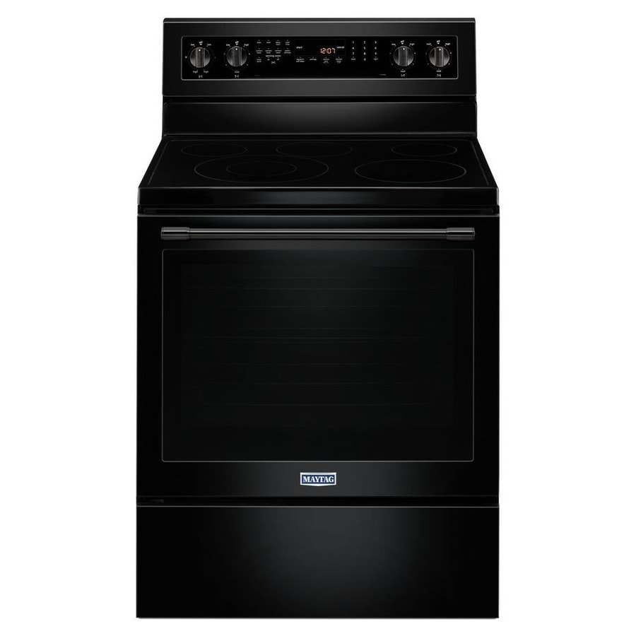 Maytag Smooth Surface Freestanding 5-Element 6.4-cu ft Self-Cleaning Convection Electric Range (Black) (Common: 30-in; Actual: 29.875-in)