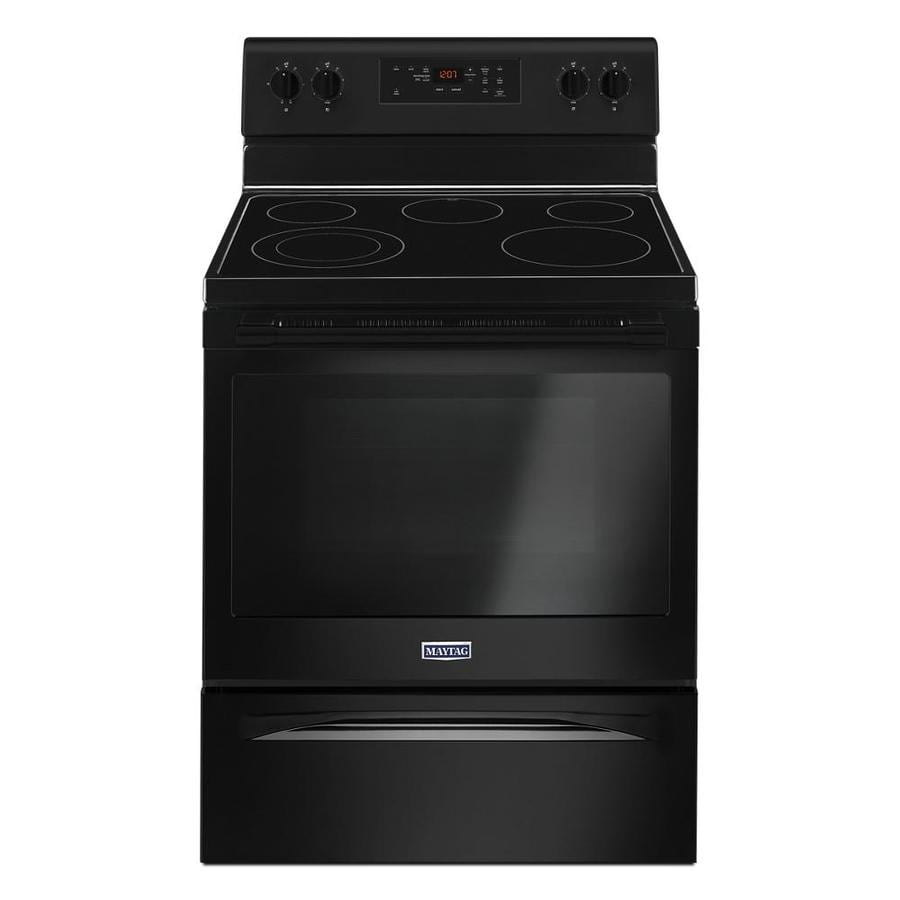 Maytag Smooth Surface Freestanding 5-Element 5.3-cu ft Self-Cleaning Electric Range (Black) (Common: 30-in; Actual: 29.875-in)