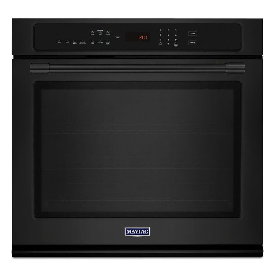 Maytag Self-Cleaning Convection Single Electric Wall Oven (Black) (Common: 27-in; Actual 27-in)