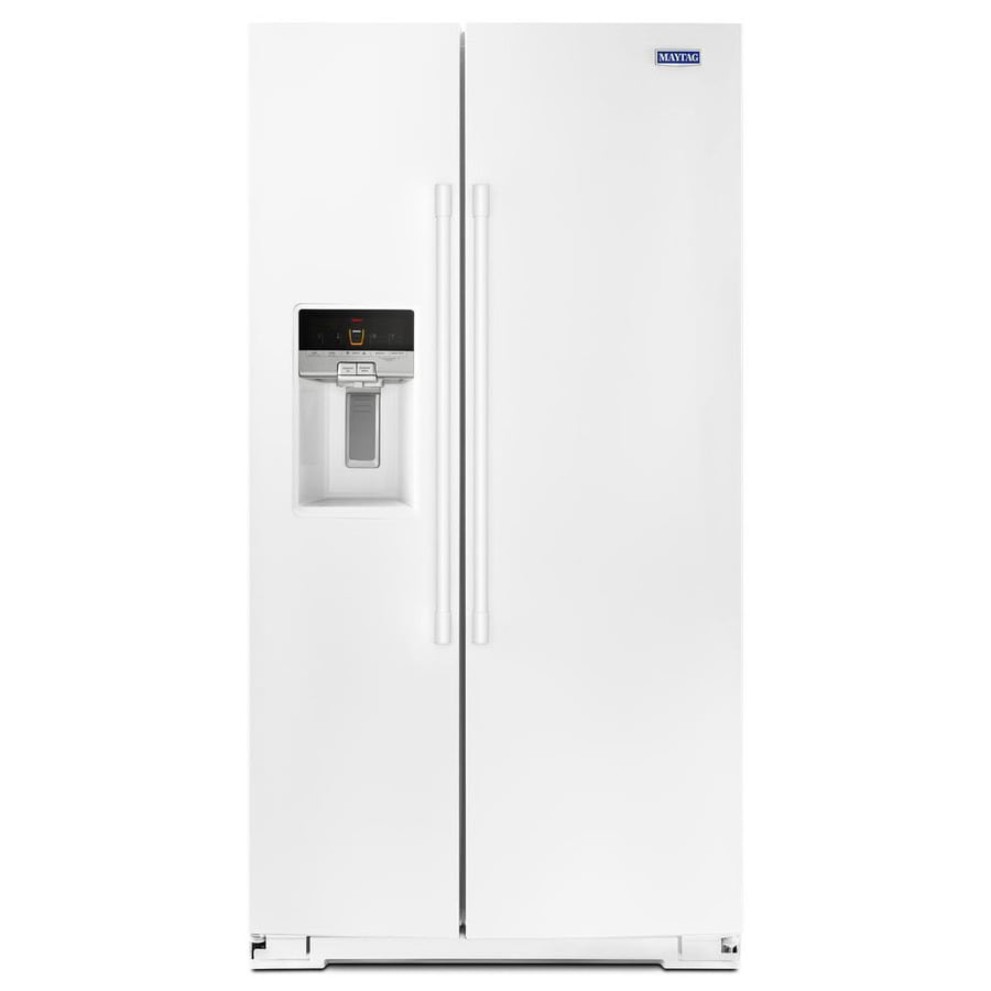 Maytag 25.6-cu ft Side-By-Side Refrigerator Single (White)