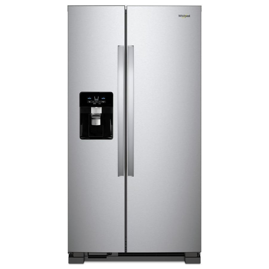 Whirlpool 21 4 Cu Ft Side By Refrigerator With Ice Maker Fingerprint
