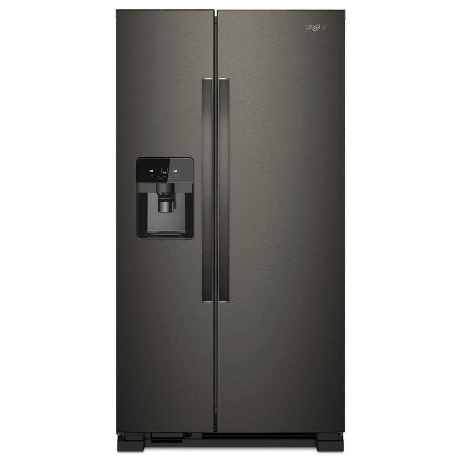 Whirlpool 24.5-cu ft Side-by-Side Refrigerator with Ice Maker (Fingerprint-Resistant Black Stainless Steel)