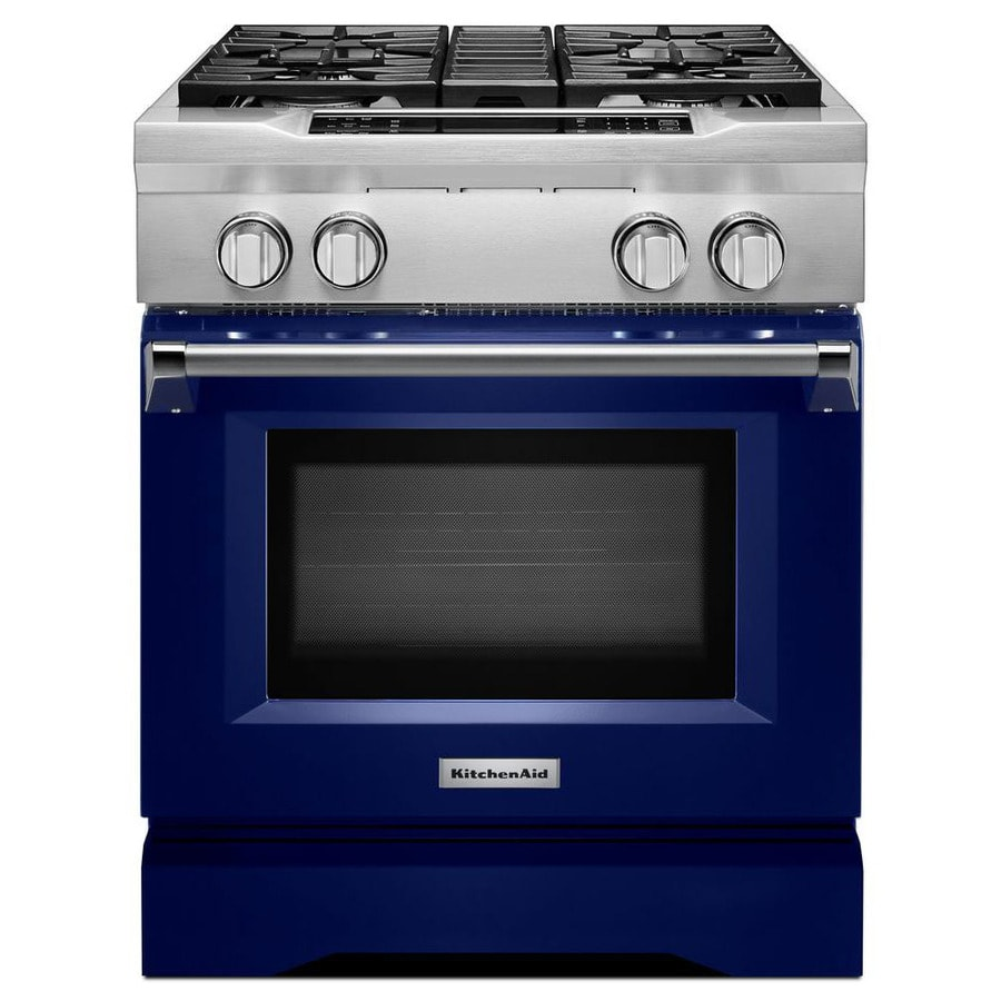 KitchenAid Self-Cleaning Convection Single Oven Dual Fuel Range (Cobalt Blue) (Common: 30-in; Actual 29.75-in)