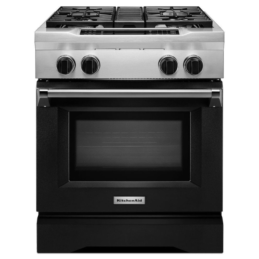 KitchenAid Self-Cleaning Convection Single Oven Dual Fuel Range (Imperial Black) (Common: 30-in; Actual 29.75-in)
