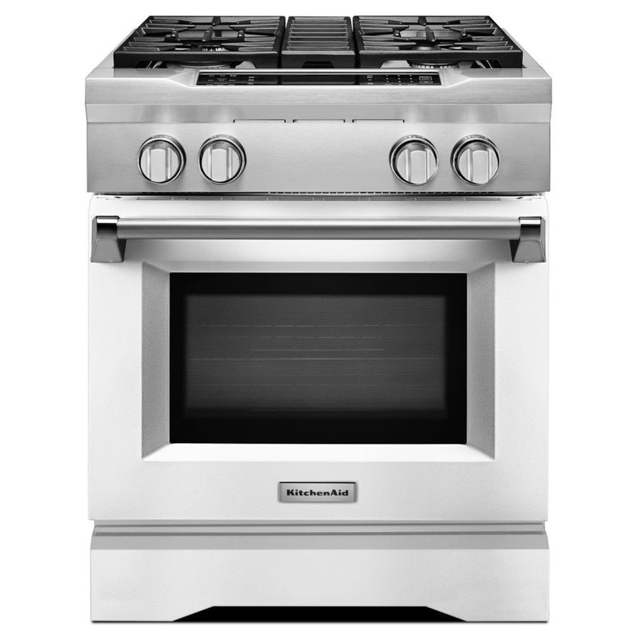 KitchenAid Self-Cleaning Convection Single Oven Dual Fuel Range (Imperial White) (Common: 30-in; Actual 29.75-in)