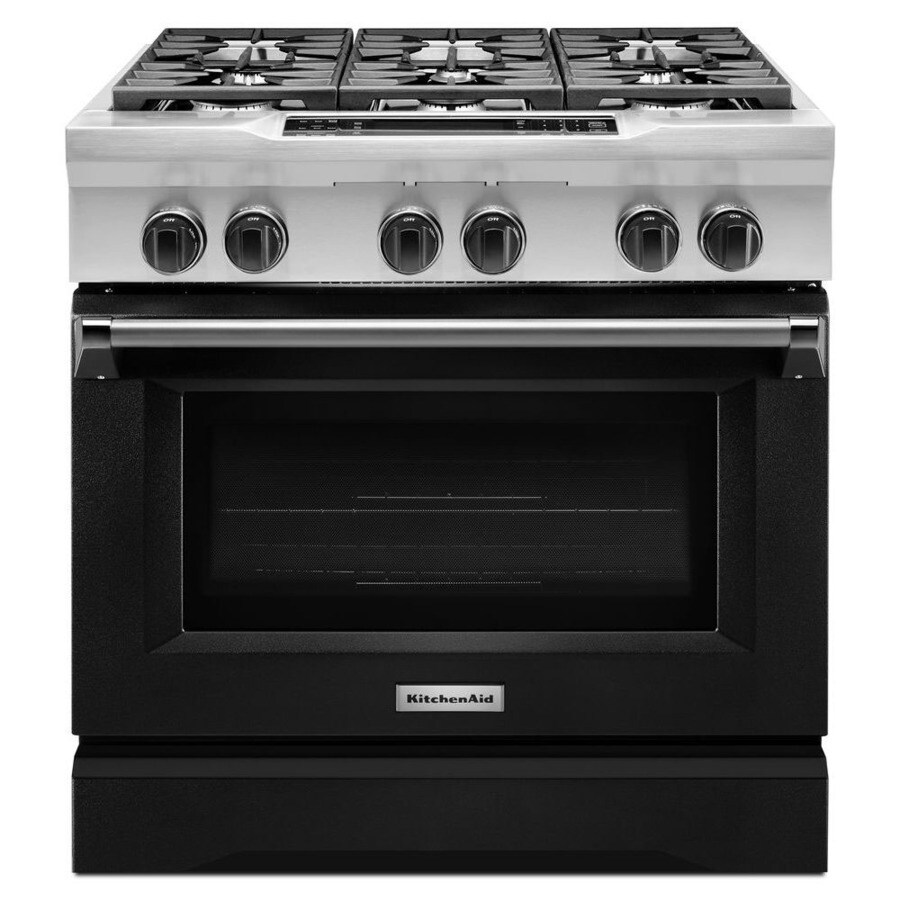 KitchenAid Deep Recessed 6-Burner Self-cleaning Convection Single Oven Dual Fuel Range (Imperial Black) (Common: 36 Inch; Actual 36-in)