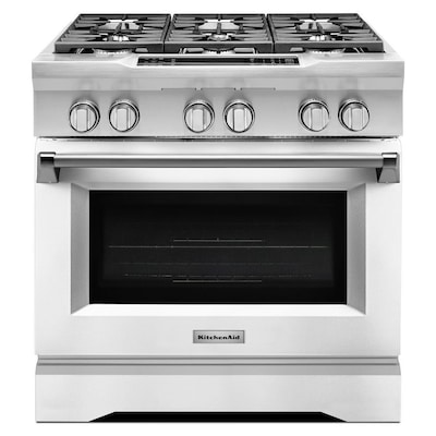 Deep Recessed 6-Burner Self-cleaning Convection Single Oven Dual Fuel Range  (Imperial White) (Common: 36 Inch; Actual 36-in)