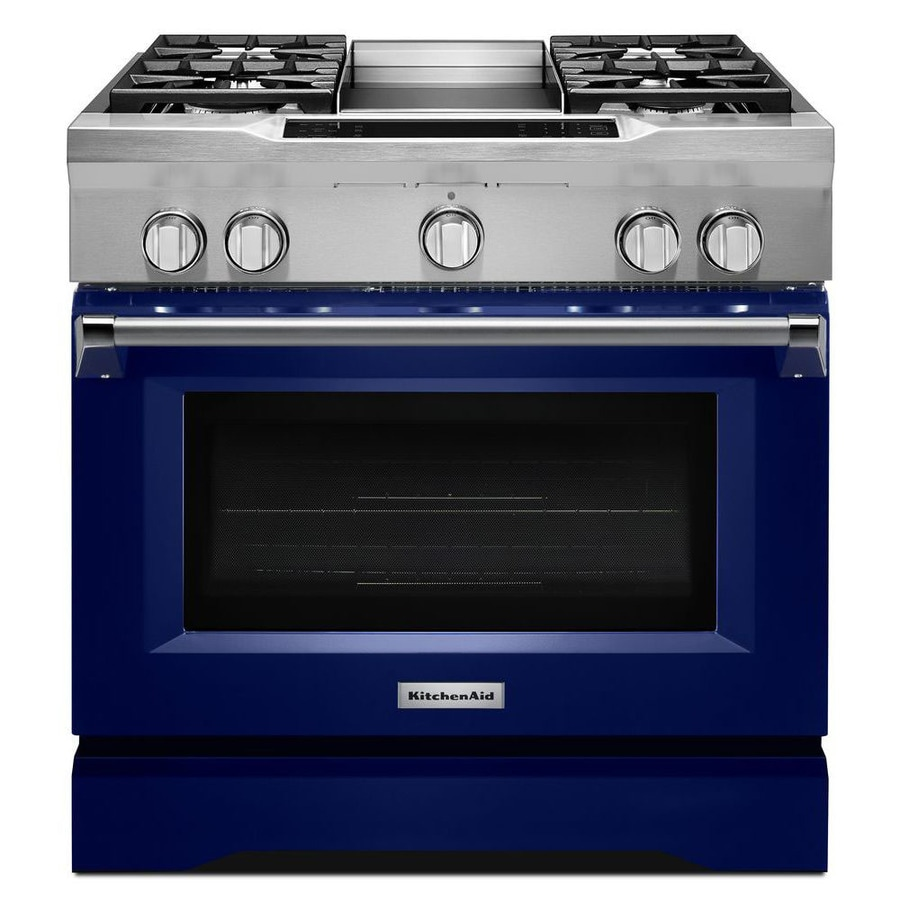 KitchenAid Deep Recessed 5-Burner Self-cleaning Convection Single Oven Dual Fuel Range (Cobalt Blue) (Common: 36 Inch; Actual 36-in)