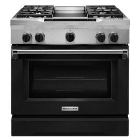 Elegant KitchenAid Deep Recessed 5 Burner Self Cleaning Convection Single Oven Dual  Fuel Range (